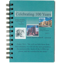 a customized wirebound journal with a clear poly cover over a full-color topsheet celebrating a church'a 100th anniversary
