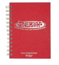 wire bound journal with silver foil imprint on red board cover