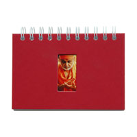 red wirebound prayer journal with die cut window and full color digital top sheet