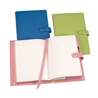 leather-bound journals with pink, blue and lime green covers