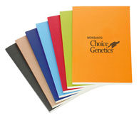 perfect-bound recycled notebooks in a range of bright colors