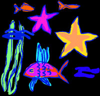 child's drawing of underwater creatures