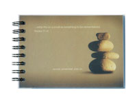 autograph-style wire-o prayer journal with a clear poly cover over a full-color topsheet