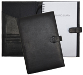 inside and outside view of Forever journal with black leather cover