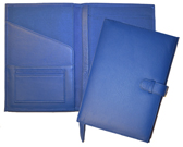 blue refillable leather journal inside and outside view
