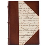 hardcover journal with leather and paper trimmed cover