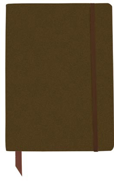 brown classic bound notebook with elastic closure
