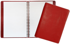 red leather Classic journal with wirebound blank insert