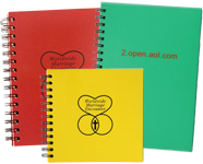 spiral journal with an opaque red poly cover, yellow poly cover customized with the Marriage Encounter logo and two color customized green poly cover