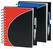 red and black poly cover spiral notebook with pen loop