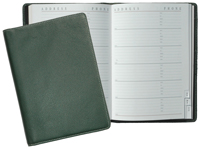green leather Classic journal with casebound address book insert