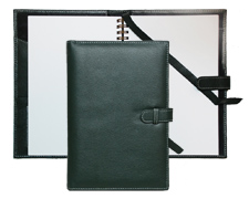 inside and outside view of Forever journal with green leather cover