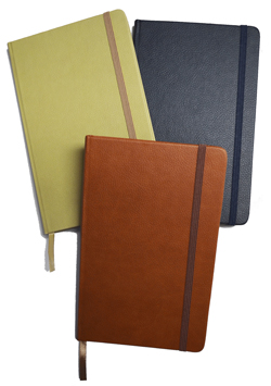 terracotta, navy blue, tan hardcover journals and notebooks
