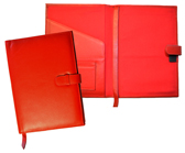 red reillable leather journal