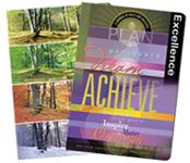 "soft cover journal with ""Achieve"" and other with ""Four Seasons"" theme"